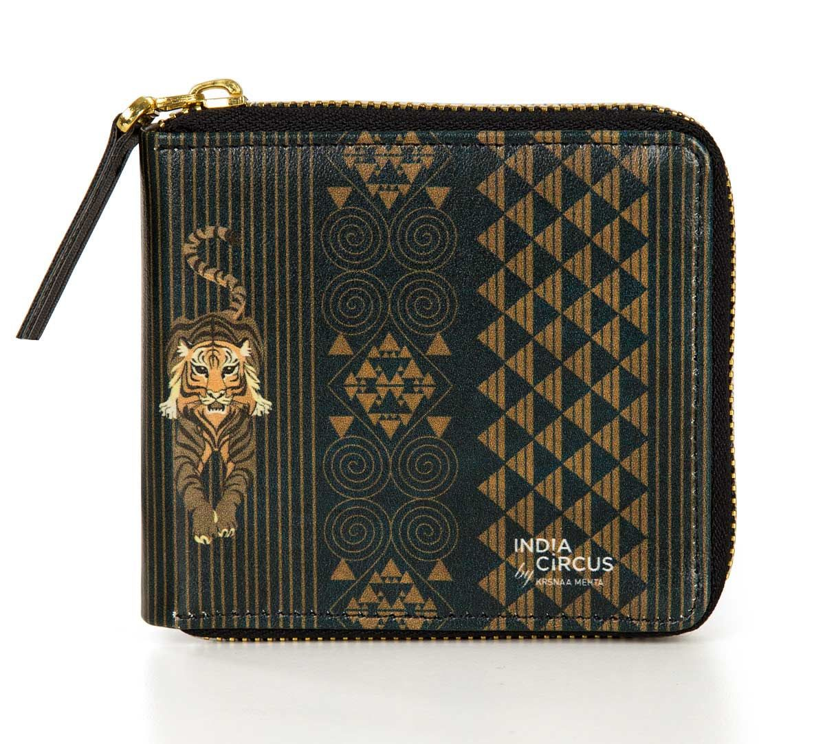 India Circus Geometrical Empress Blue Zipper Wallet