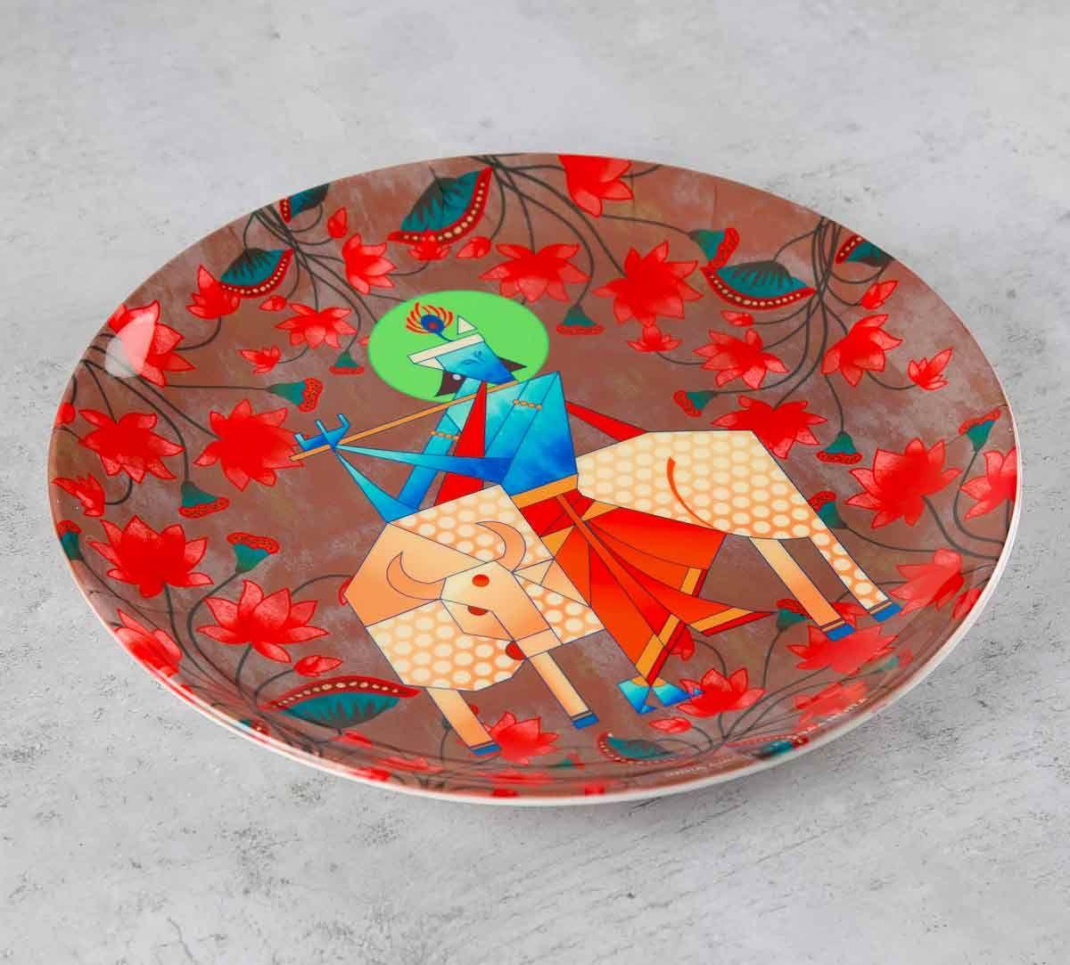India Circus Geometrical Krishna 10 inch Decorative and Snacks Platter