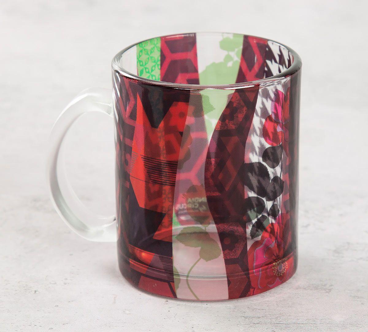 India Circus Geometrical Straps Glass Mug