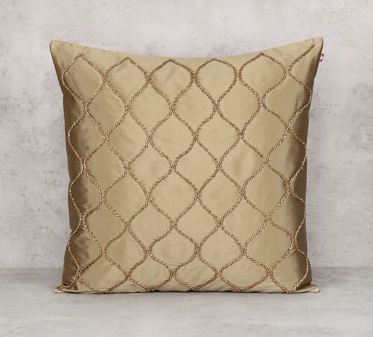 India Circus Gold Bead Beige Cushion Cover