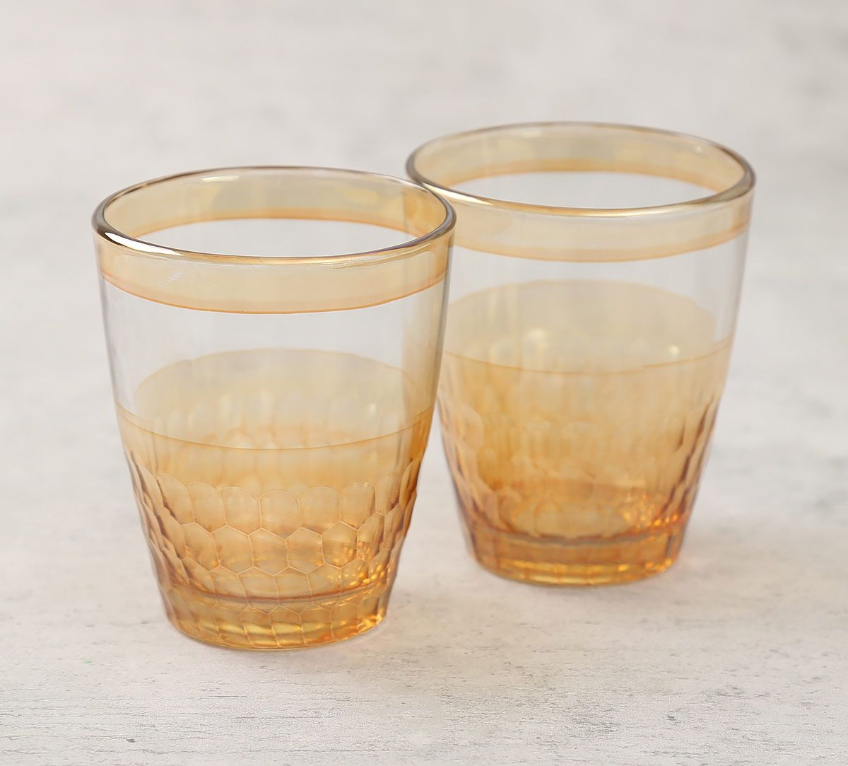 India Circus Gold Honeycomb Water Tumbler Set of 2