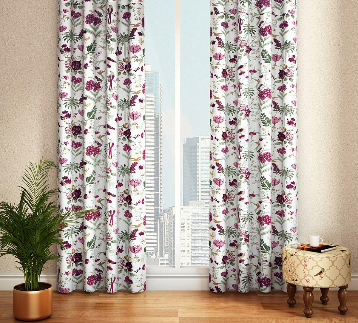 India Circus Grey Floral Galore Door Curtain