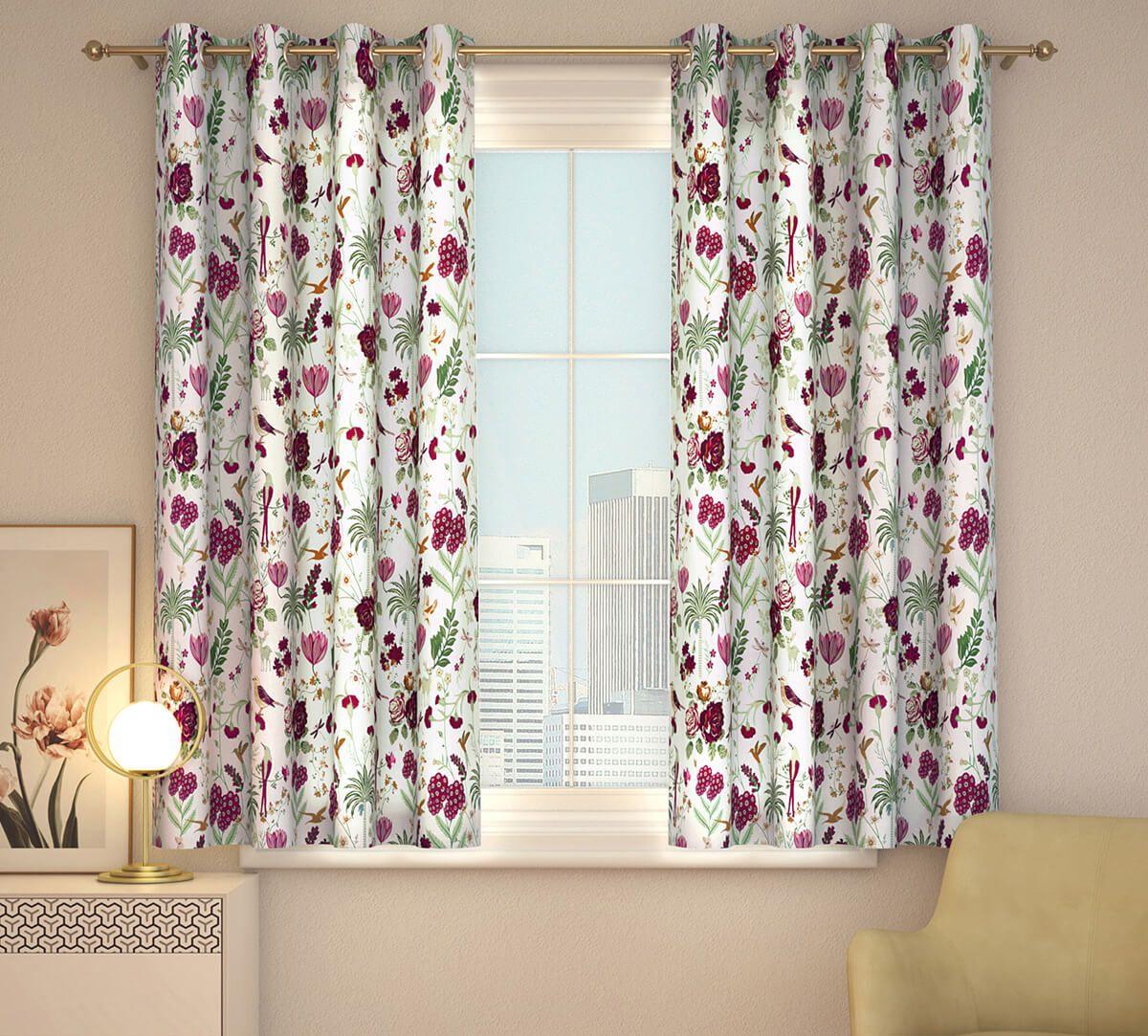 India Circus Grey Floral Galore Window Curtain