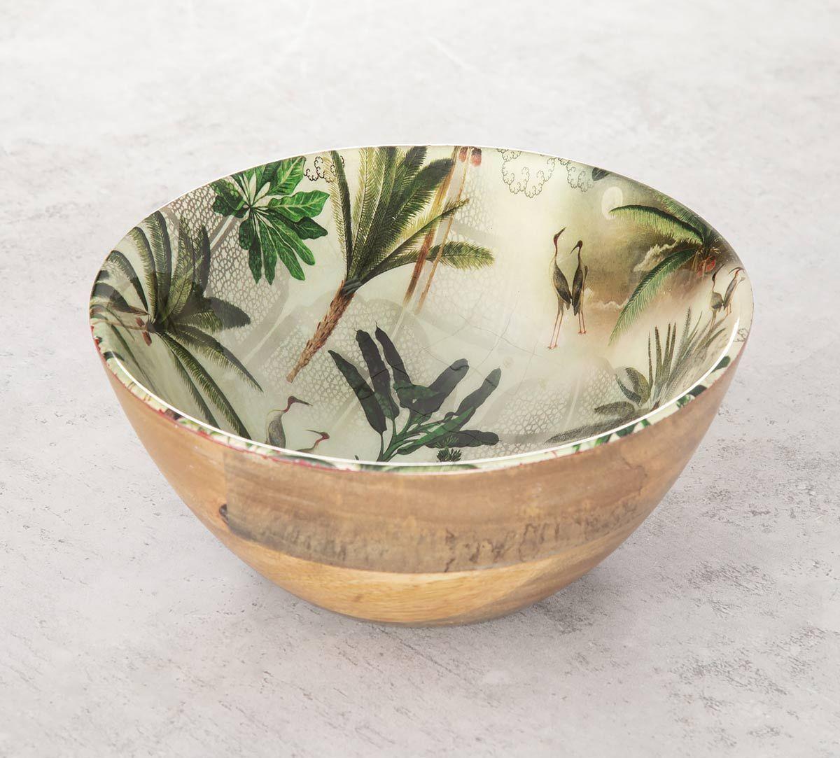 India Circus Heron's Garden Wooden Bowl
