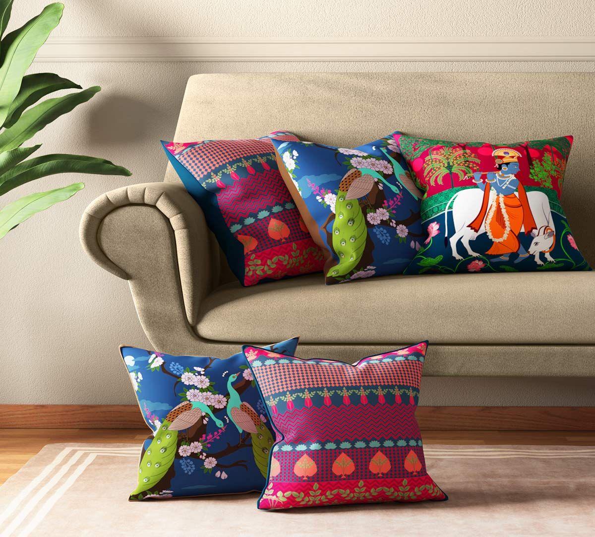 India Circus Krishna Baugh Cushion Cover Set of 5