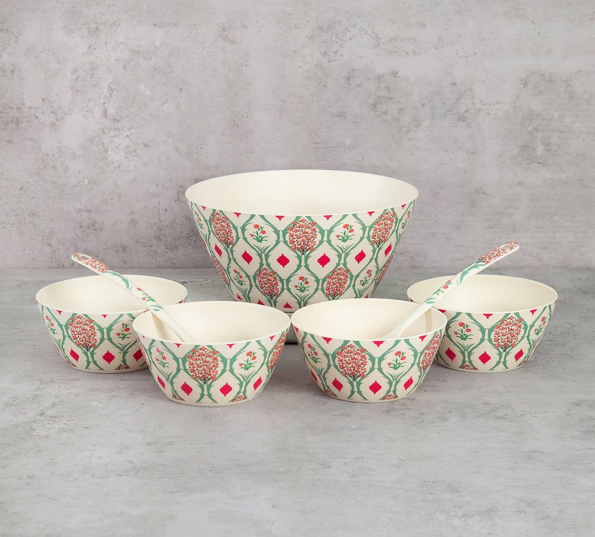 India Circus Lattice Blooms Bamboo Salad Bowl Set