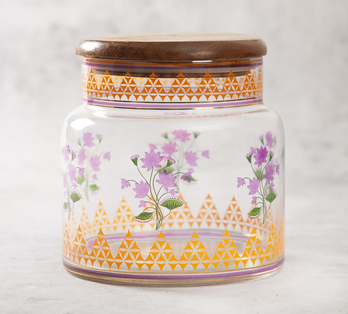 India Circus Lattice Lotus Glass Jar