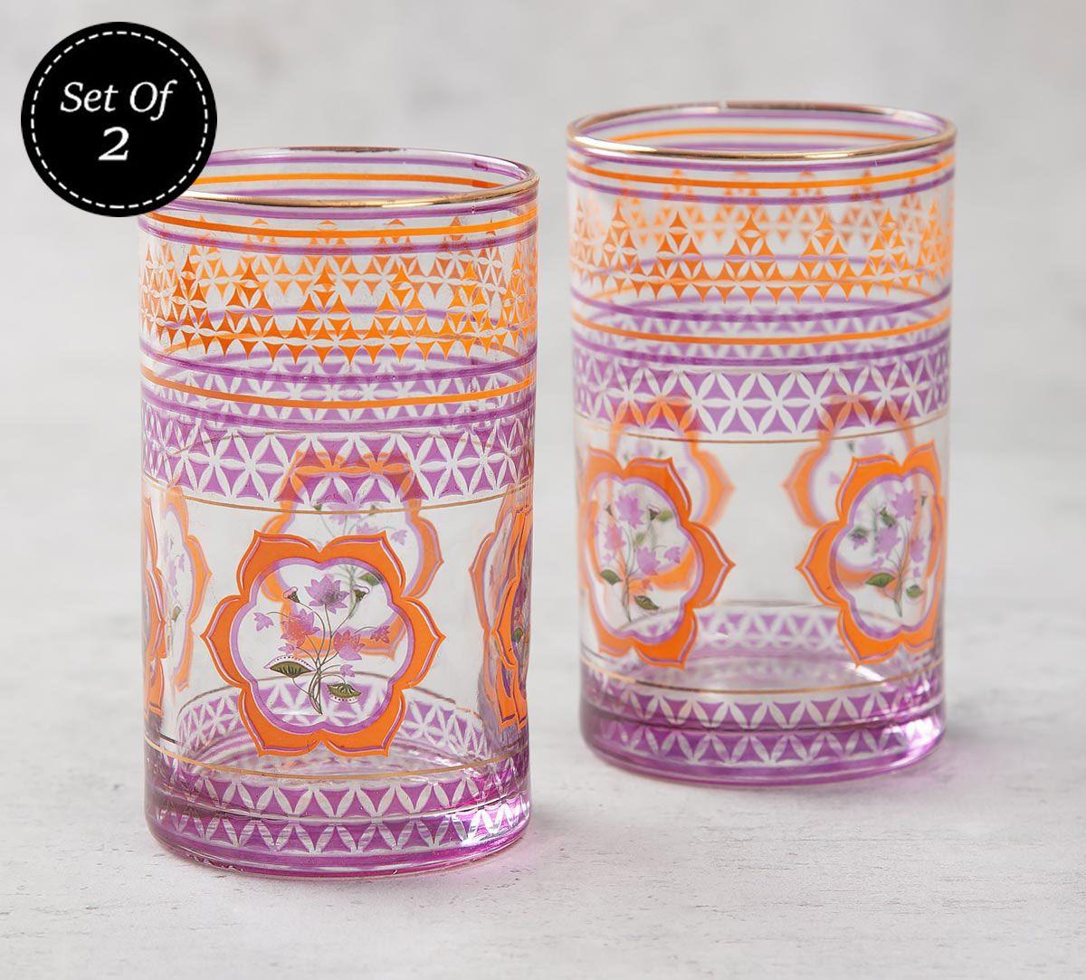 India Circus Lattice Lotus Small Glass Tumbler (Set of 2)