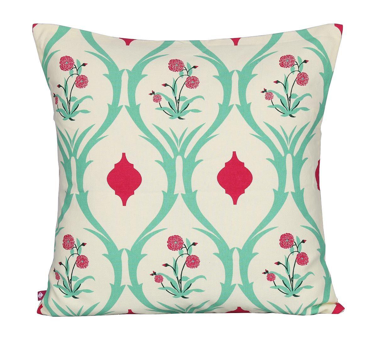 India Circus Lattice Roses Cotton Cushion Cover