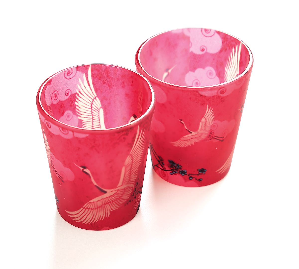 India Circus Legend Of The Cranes Frosted Shot Glasses (Set of 2)