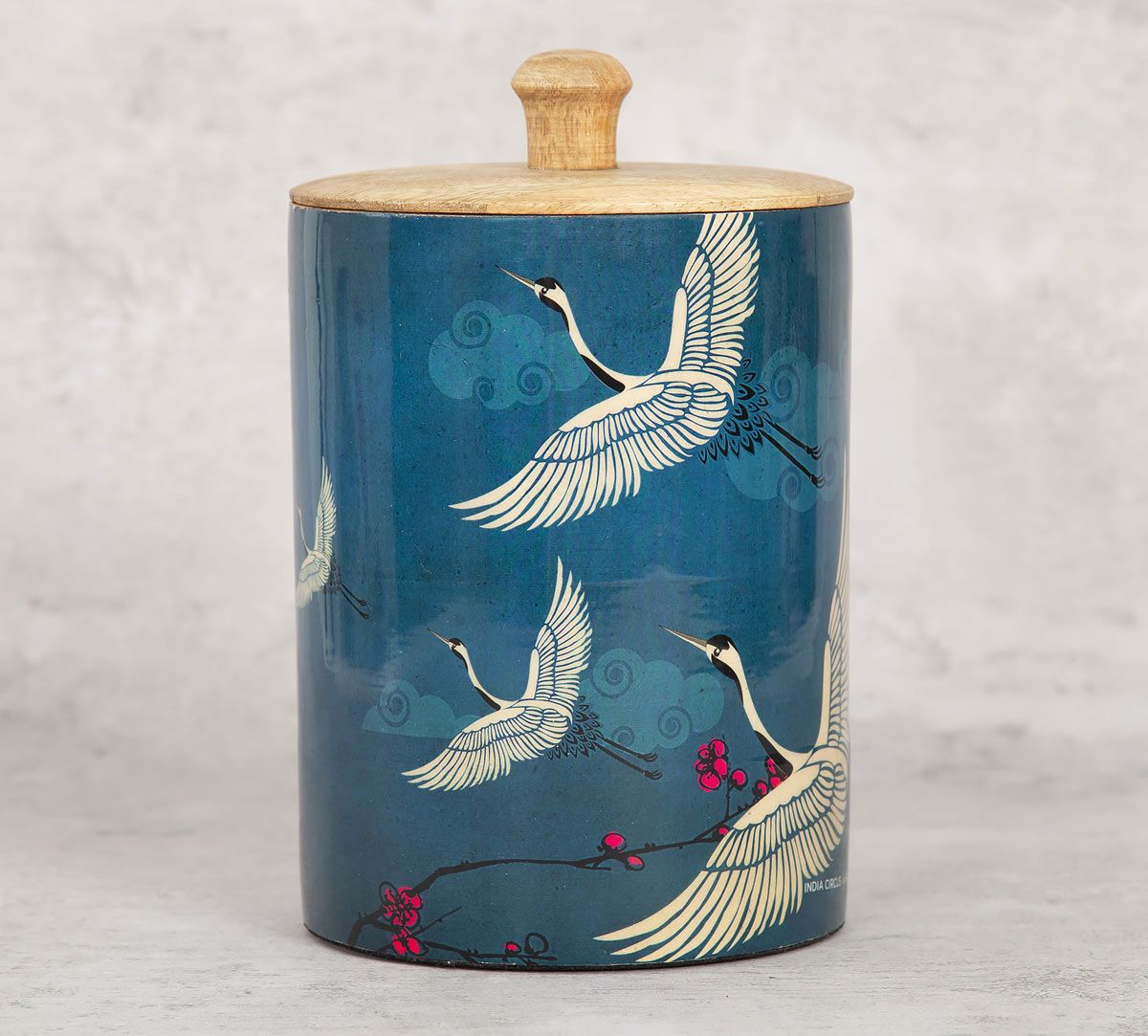 India Circus Legend of the Cranes Medium Wooden Jar