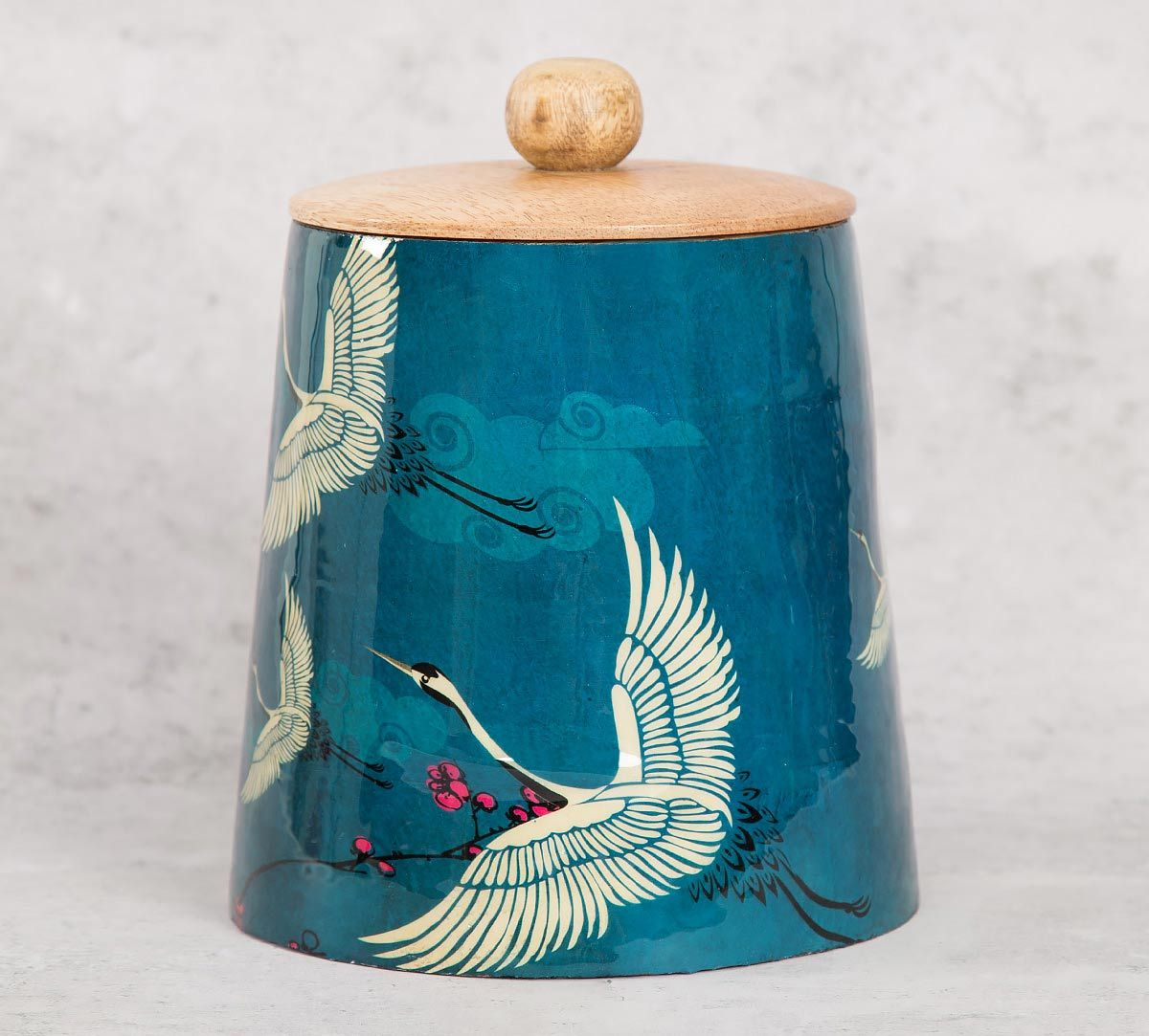 India Circus Legend of the Cranes Wooden Jar