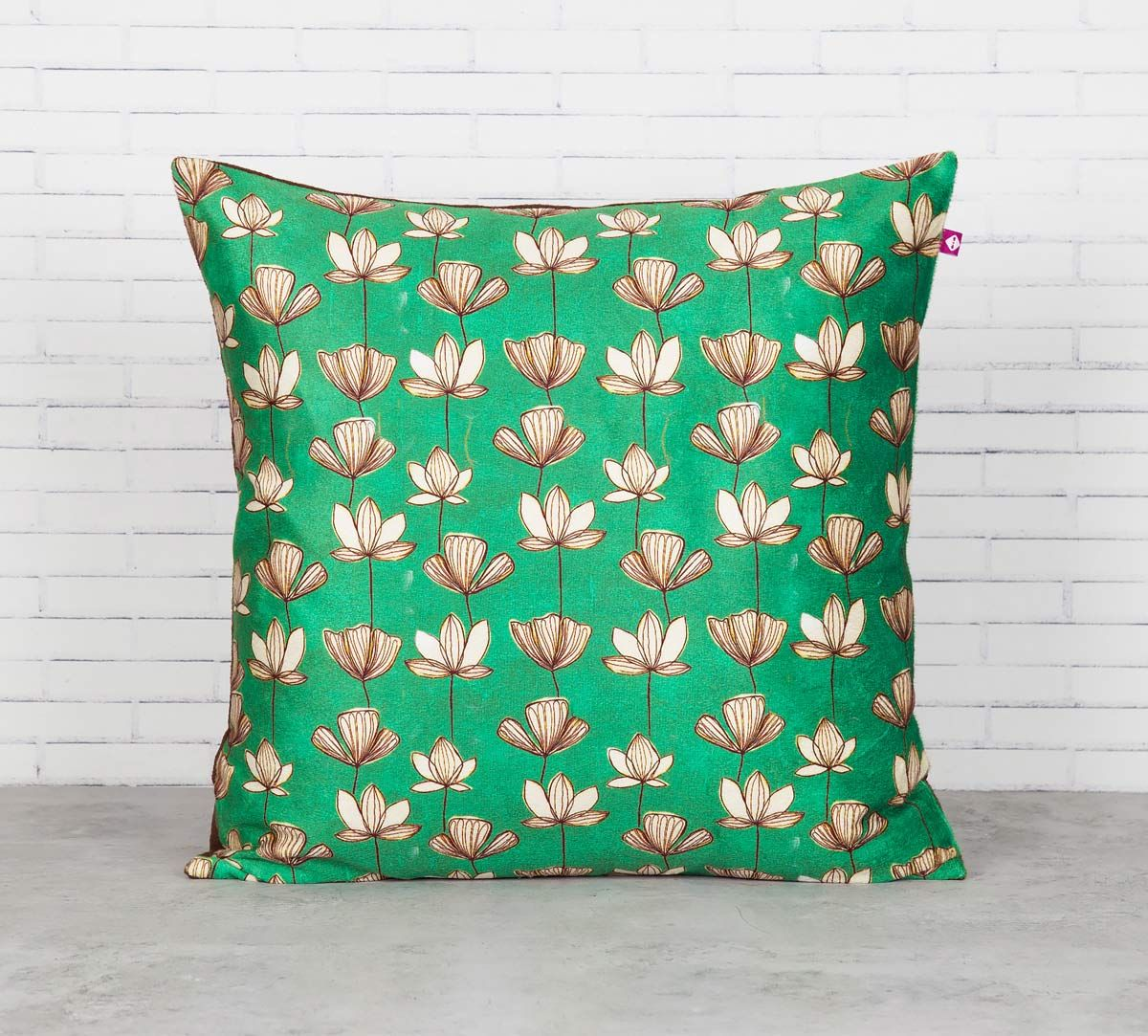 India Circus Lotus Pond Blended Velvet Cushion Cover