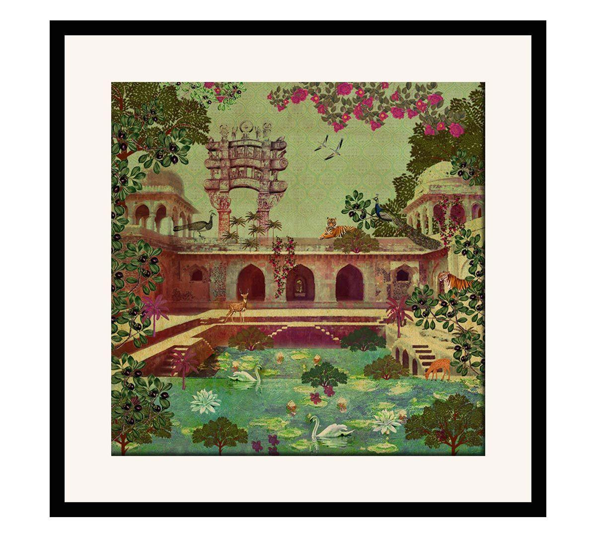 India Circus Mammalian Picnic 16 x 16 and 24 x 24 Framed Wall Art