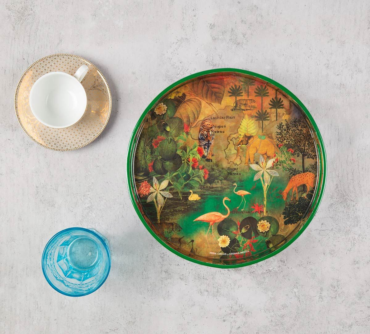 India Circus Mapping Animals Round Serving Tray
