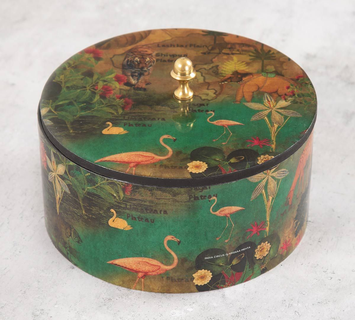India Circus Mapping Animals Round Storage Box