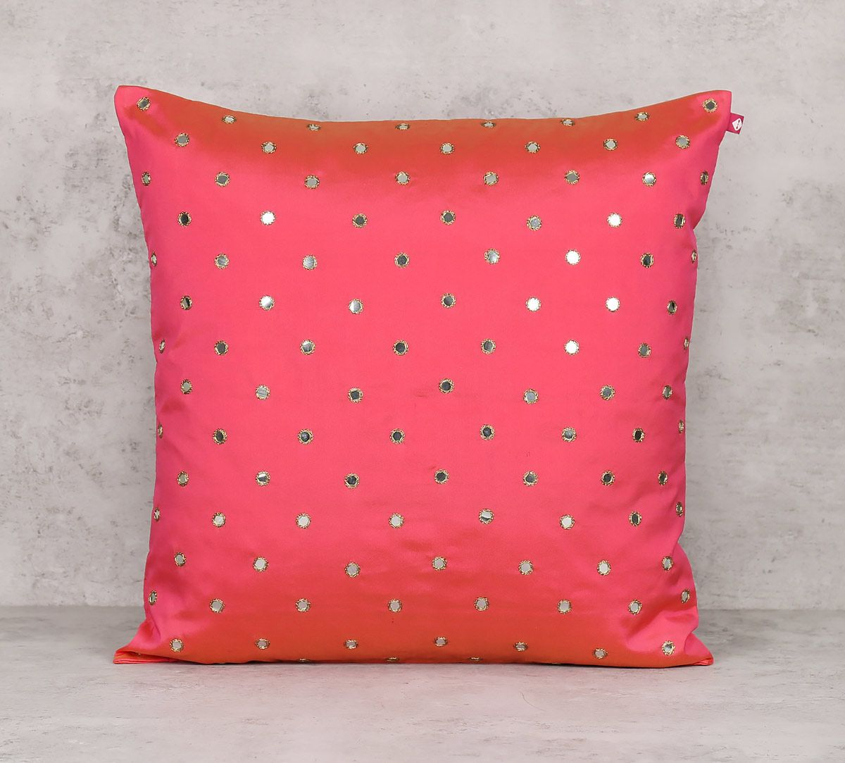India Circus Mirror Work Pink Cushion Cover