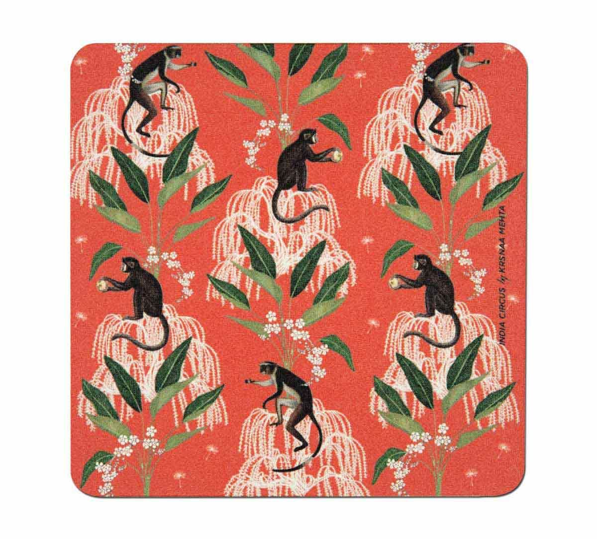 India Circus Monkey Games Table Coaster Set of 6