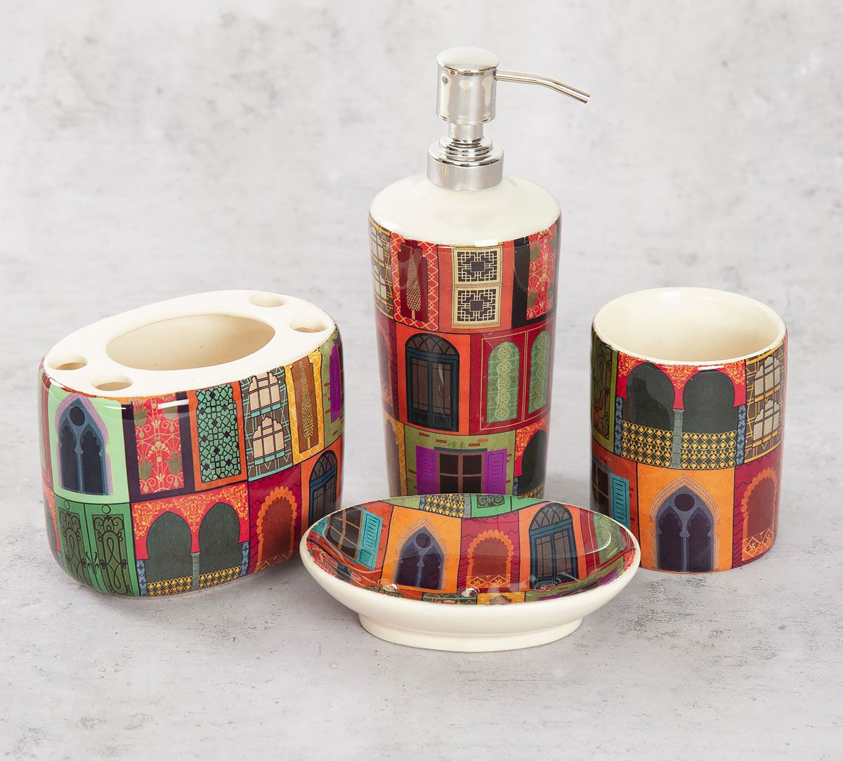 India Circus Mughal Doors Reiteration Bath Accessory Set