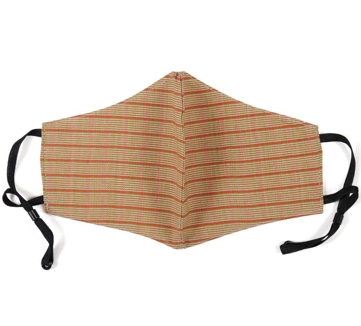 India Circus Mustard Stripe Linen Cotton Mask