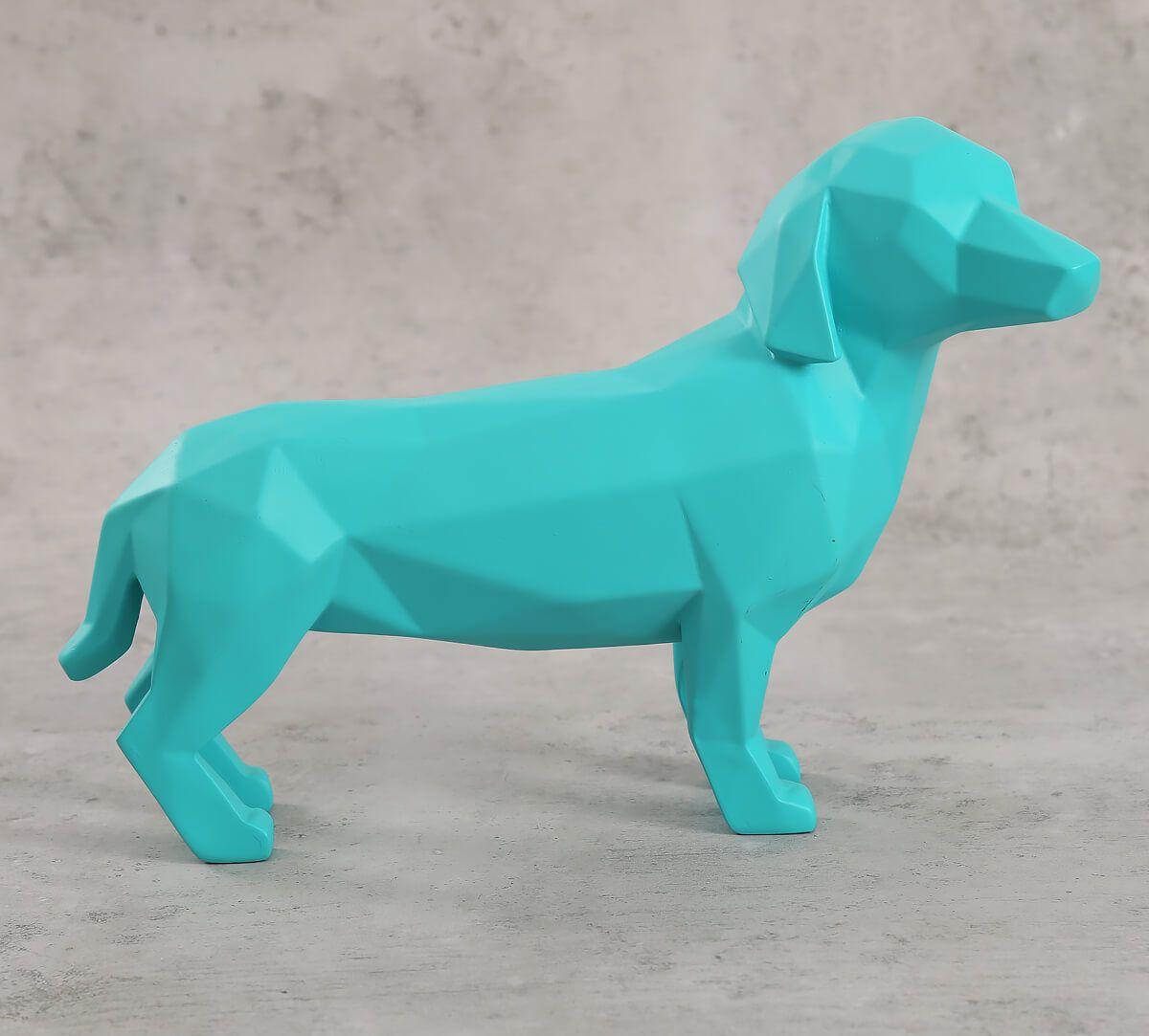 India Circus Neon Blue Dachshund Figurine