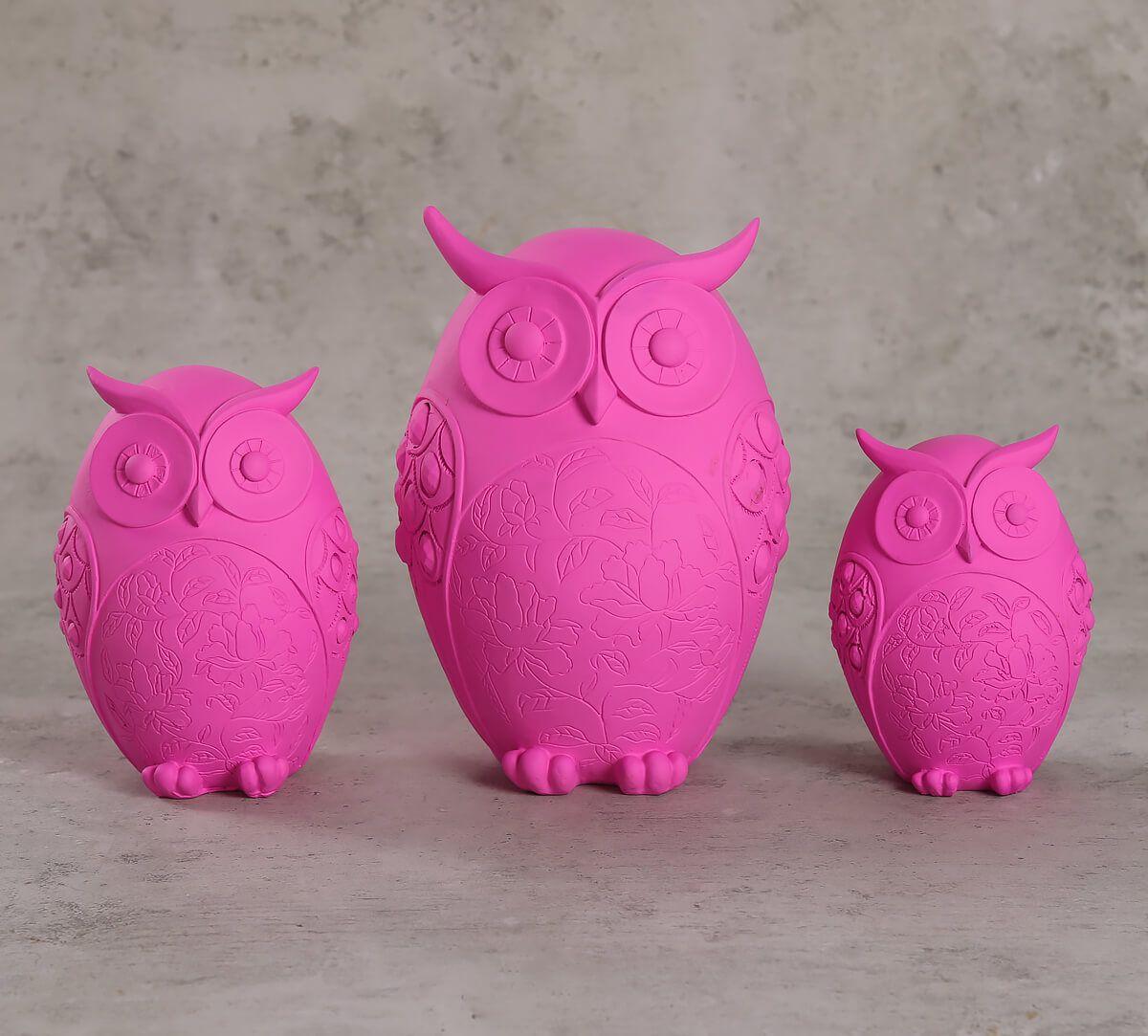 India Circus Neon Pink Owl Figurine Set of 3