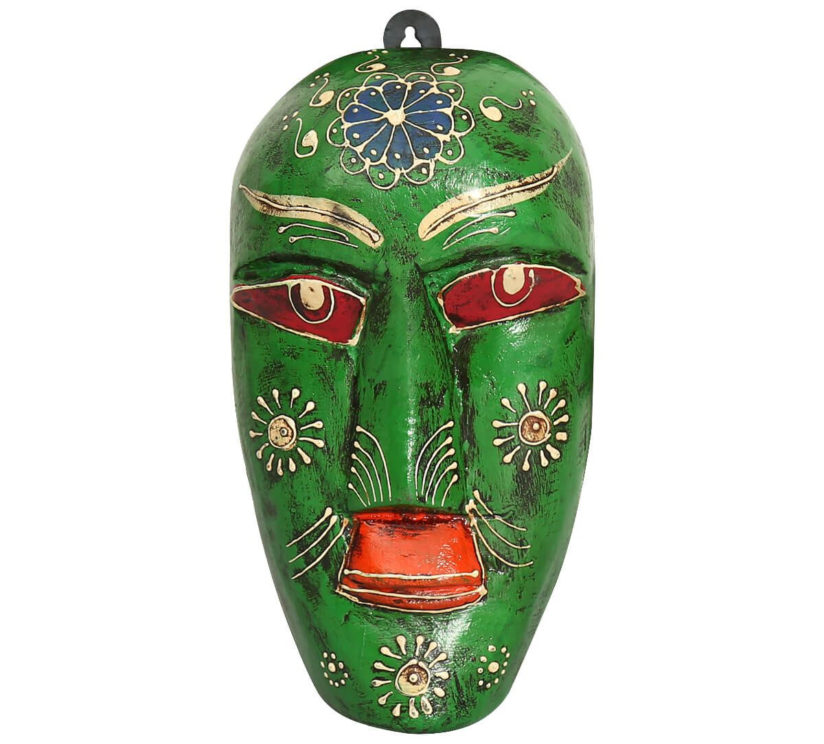 India Circus Olive Hobgoblin Decorative Wooden Mask