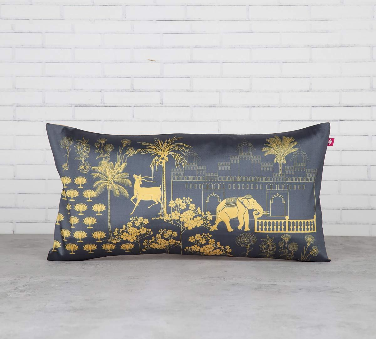 India Circus Palatial Courtyard Blended Taf Silk Cushion Cover