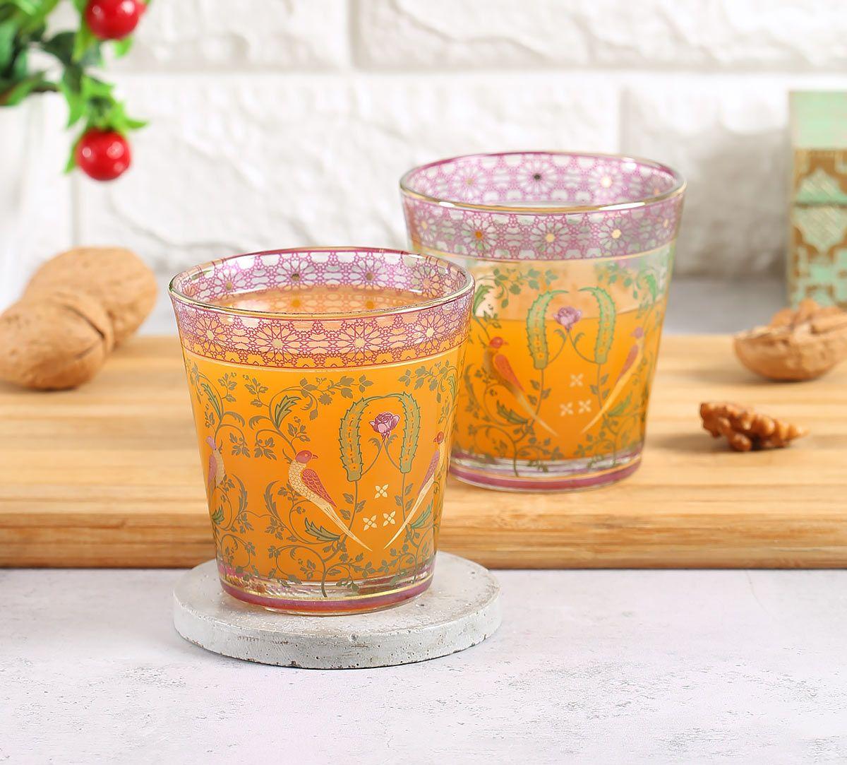 India Circus Parakeet Florals Glass Tumbler Set of 2