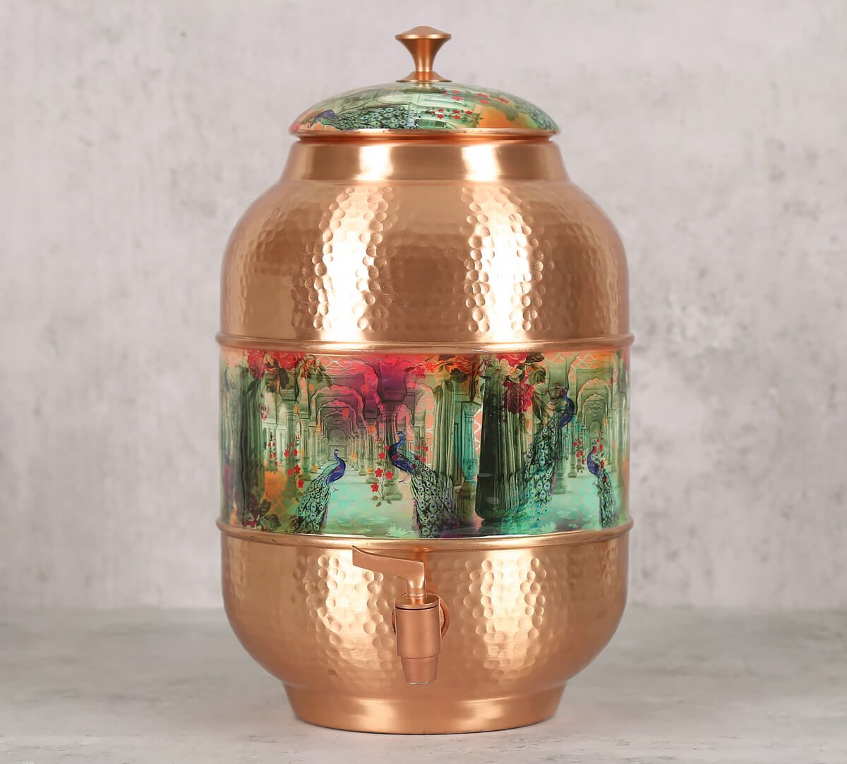 India Circus Peacock Dwar Copper Water Dispenser