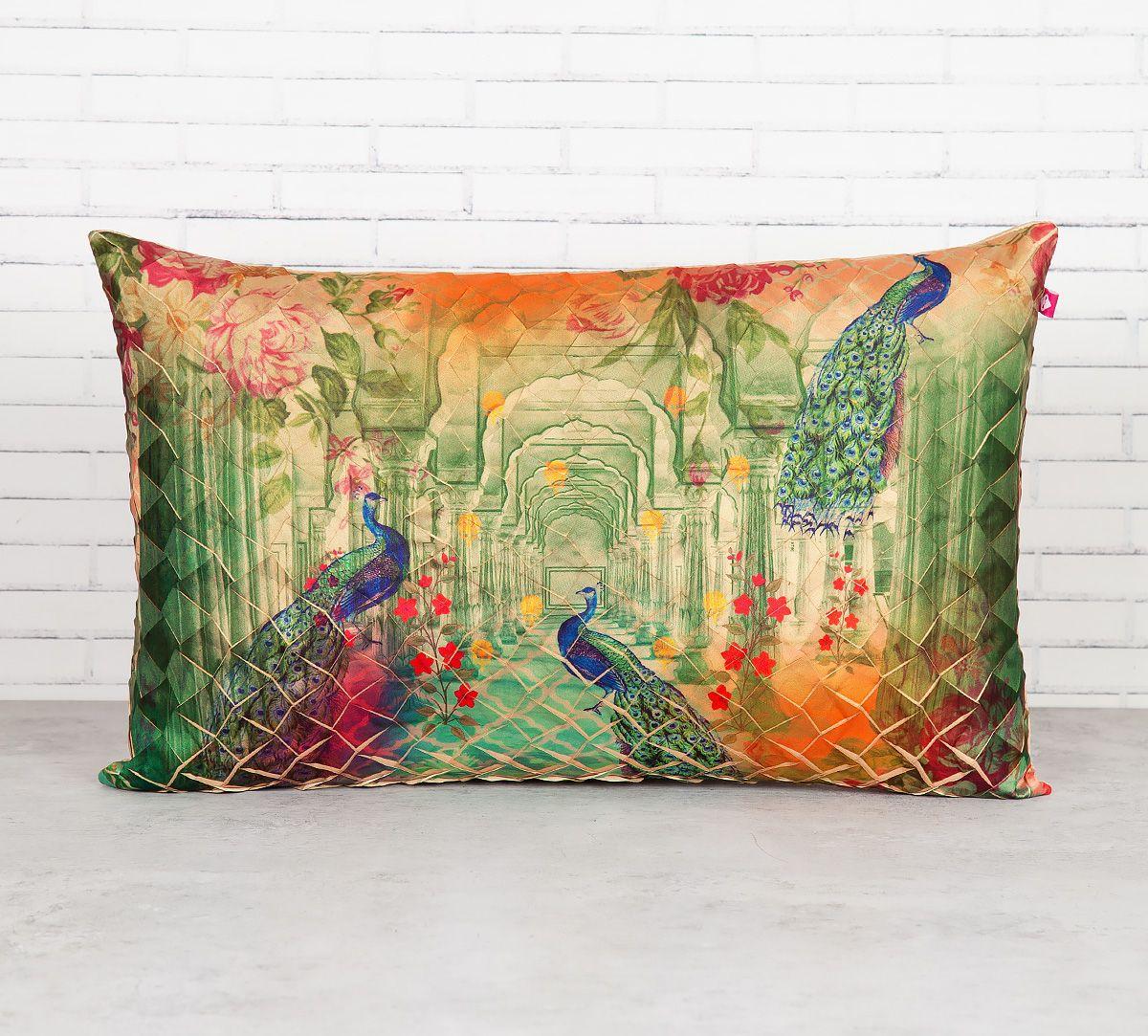 India Circus Peacock Dwar Decorative Scale Cushion Cover