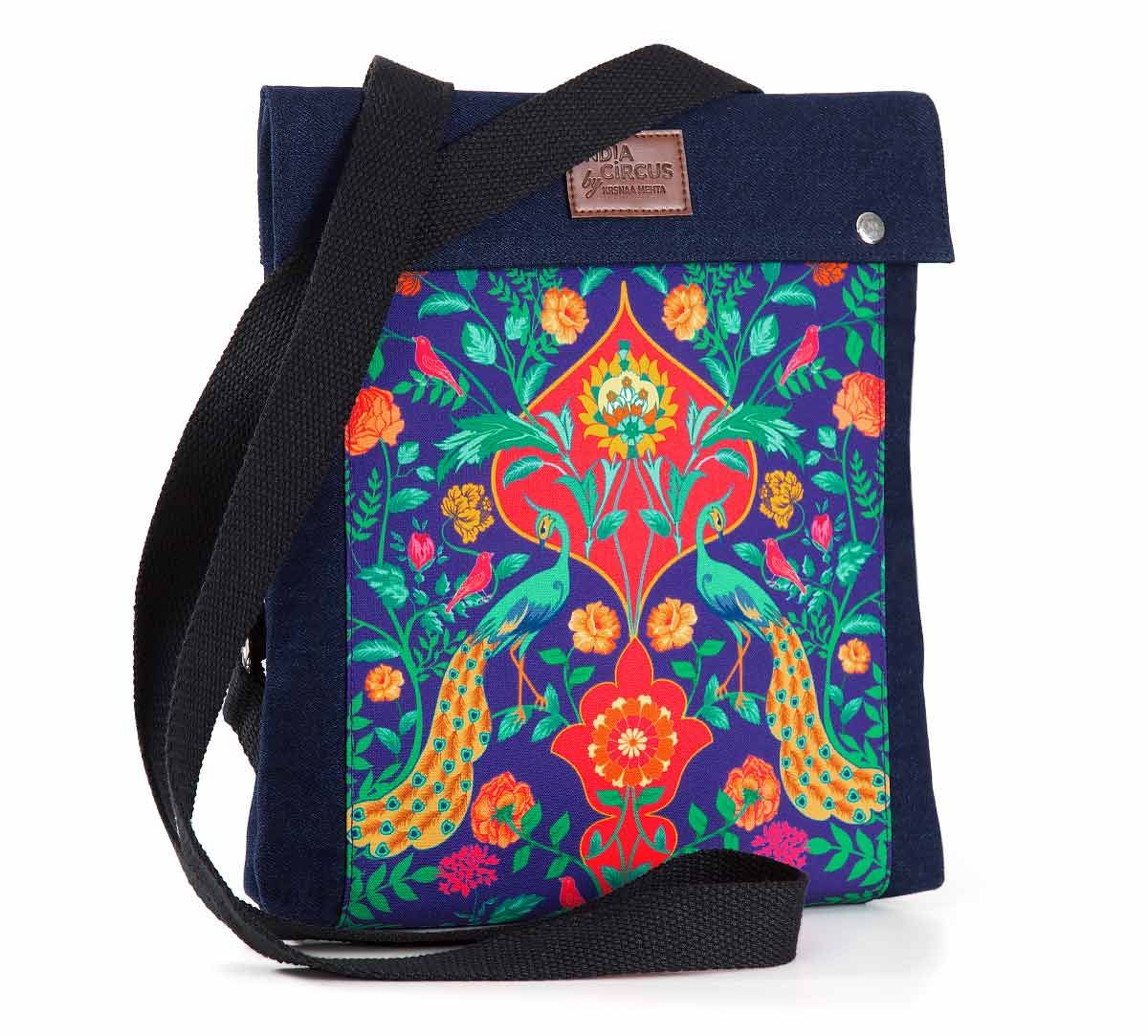 India Circus Peacock Outburst Sling Denim Backpack