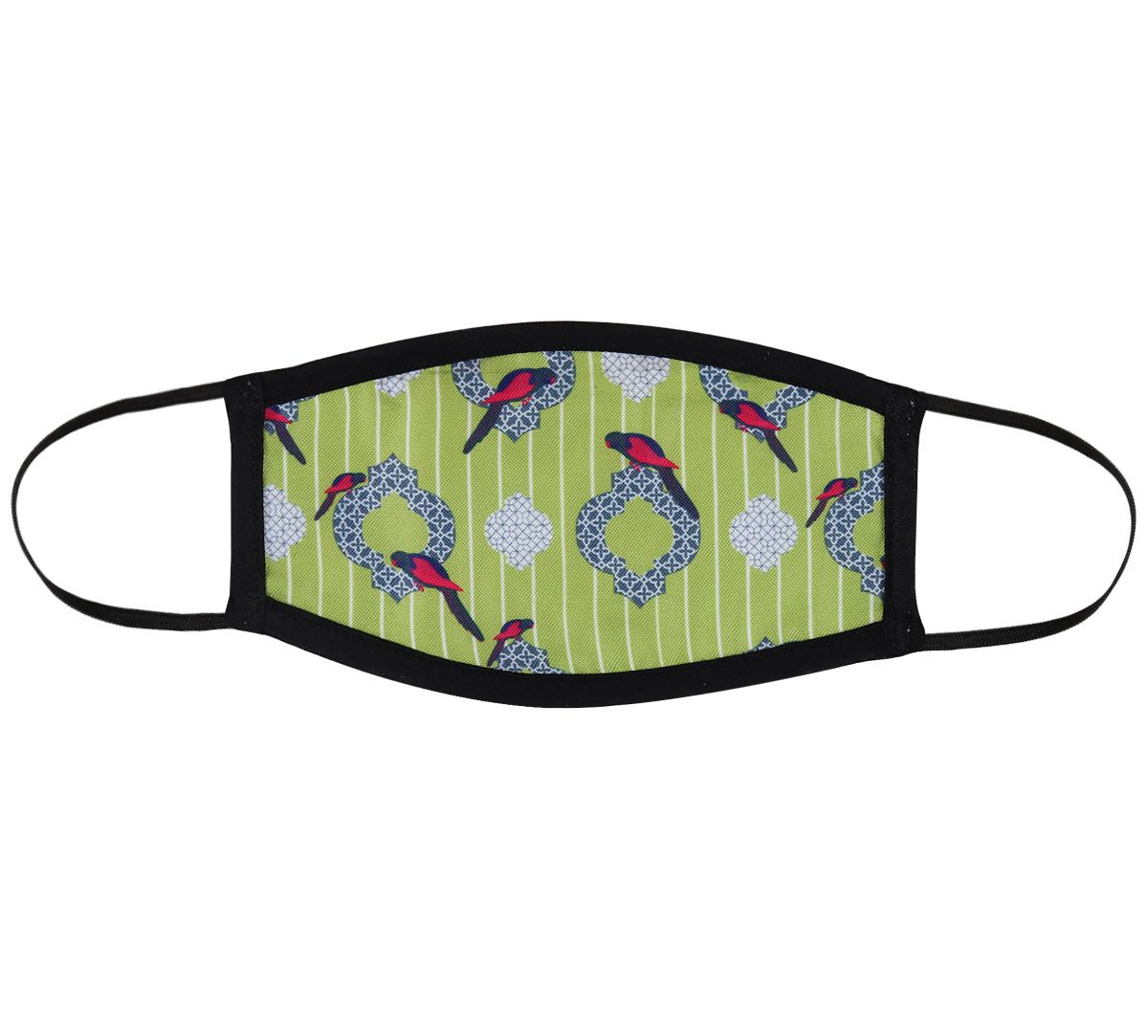 India Circus Peeking Parrots Lime Protective Face Masks for Kids