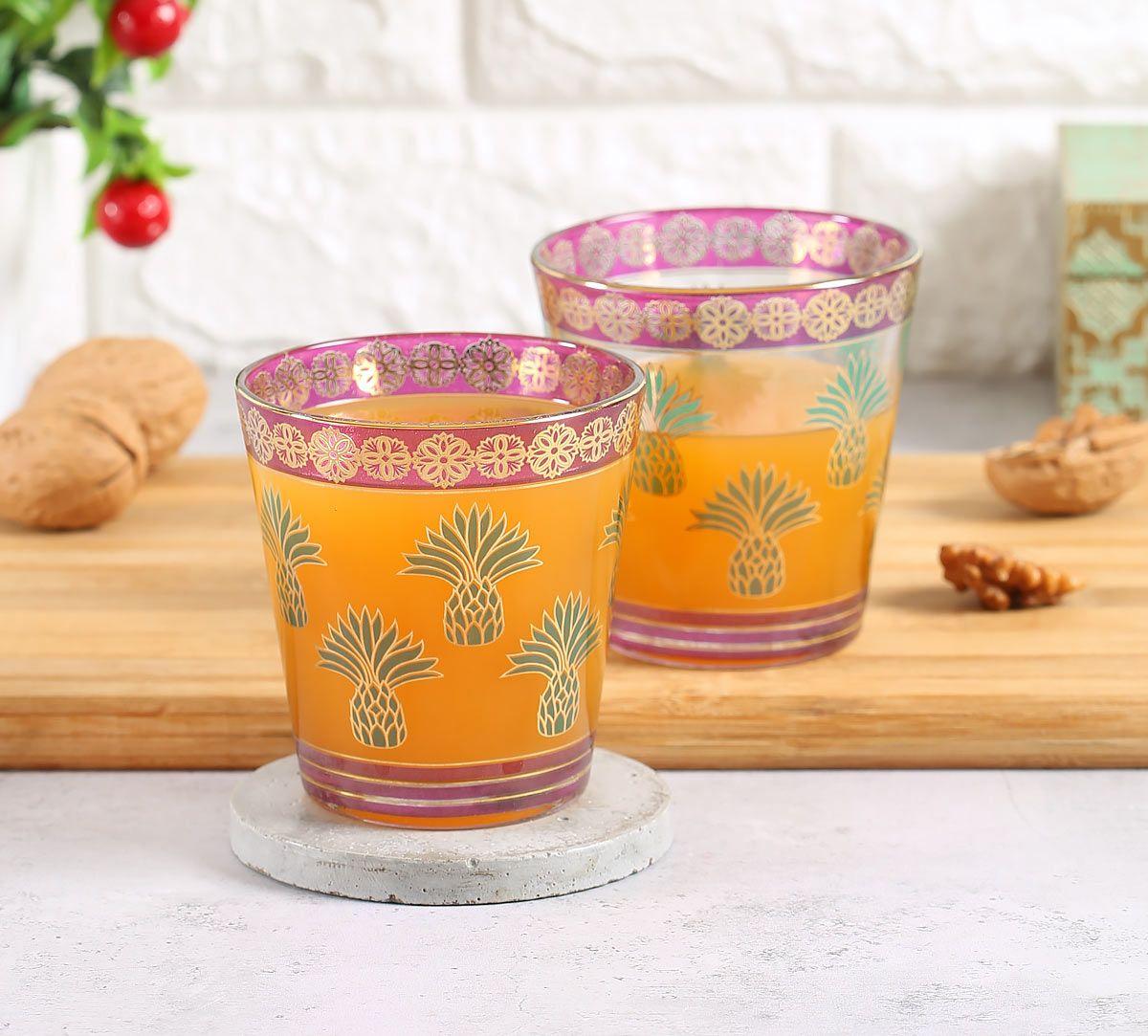 India Circus Pineapple Stem-Green Glass Tumbler Set of 2