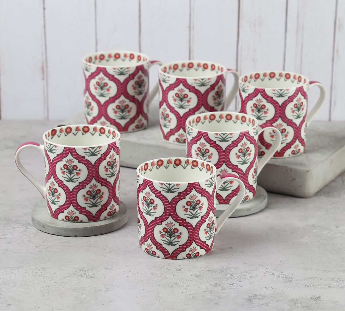 India Circus Pink Lattice Motifs Coffee Mugs Set of 6