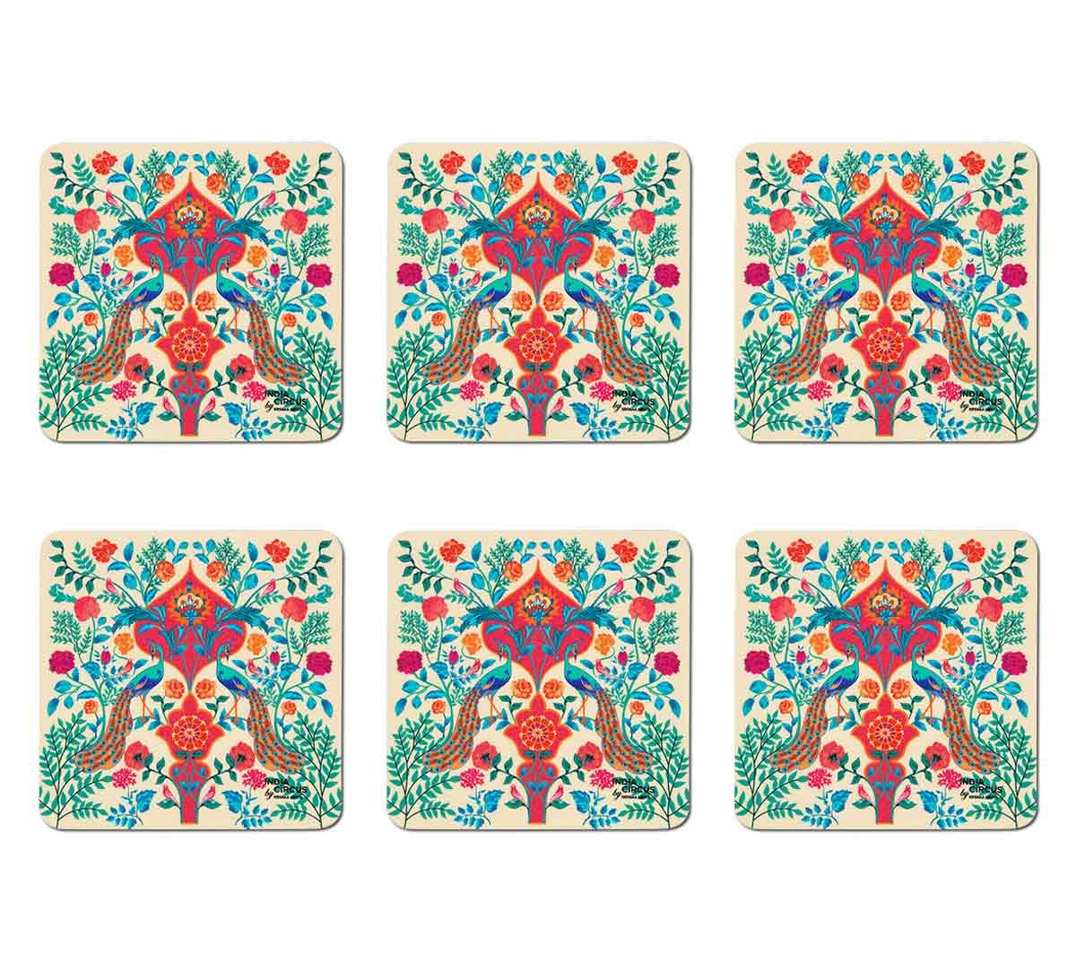 India Circus Pistachio Birds and Floral Burst Table Coaster