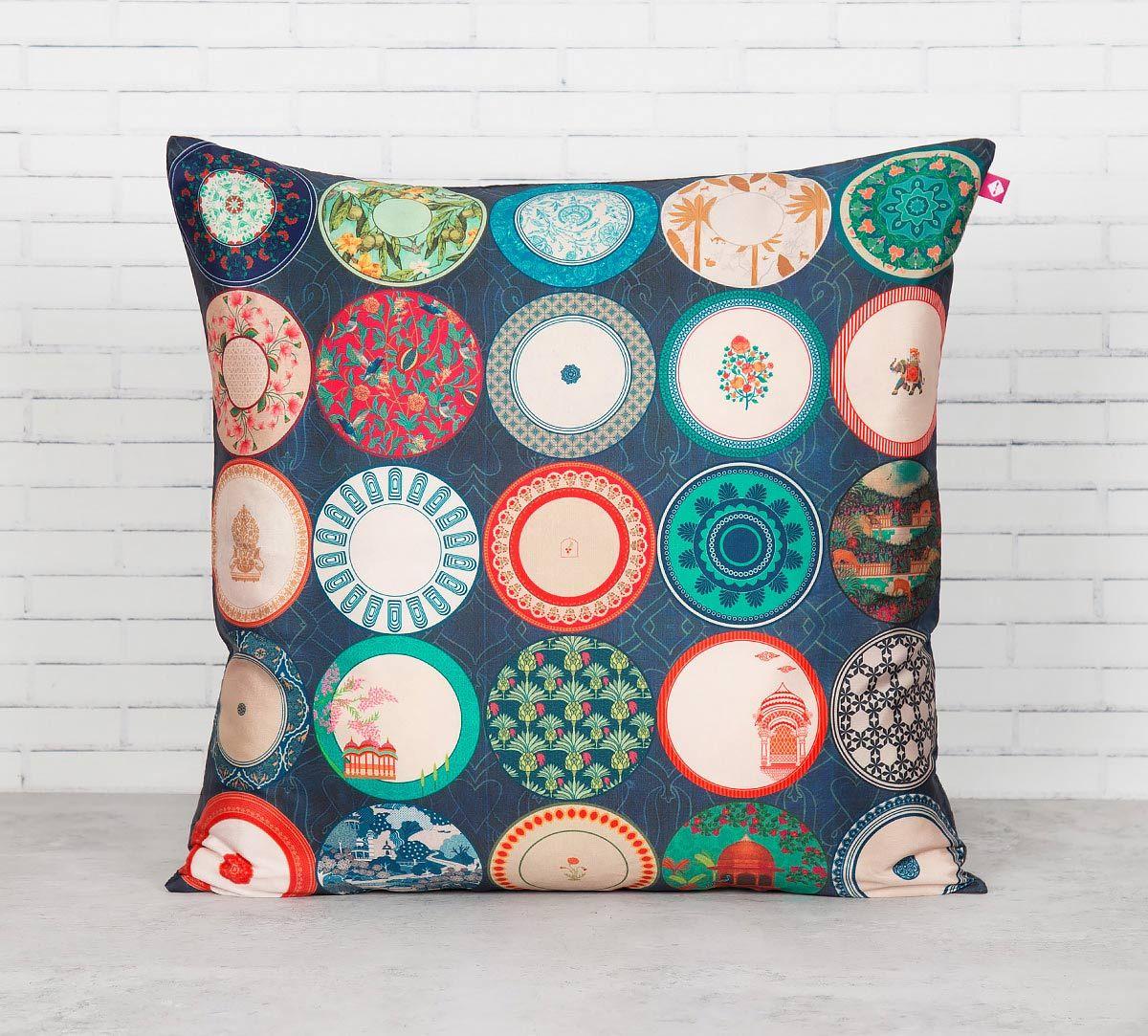 India Circus Platter Portrayal Blended Taf Silk Cushion Cover