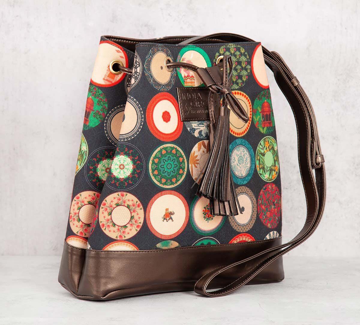 India Circus Platter Portrayal Hobo Bag