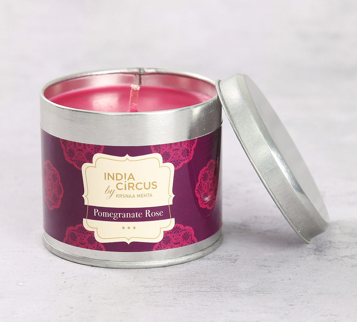 India Circus Pomegranate Rose Tin Candle