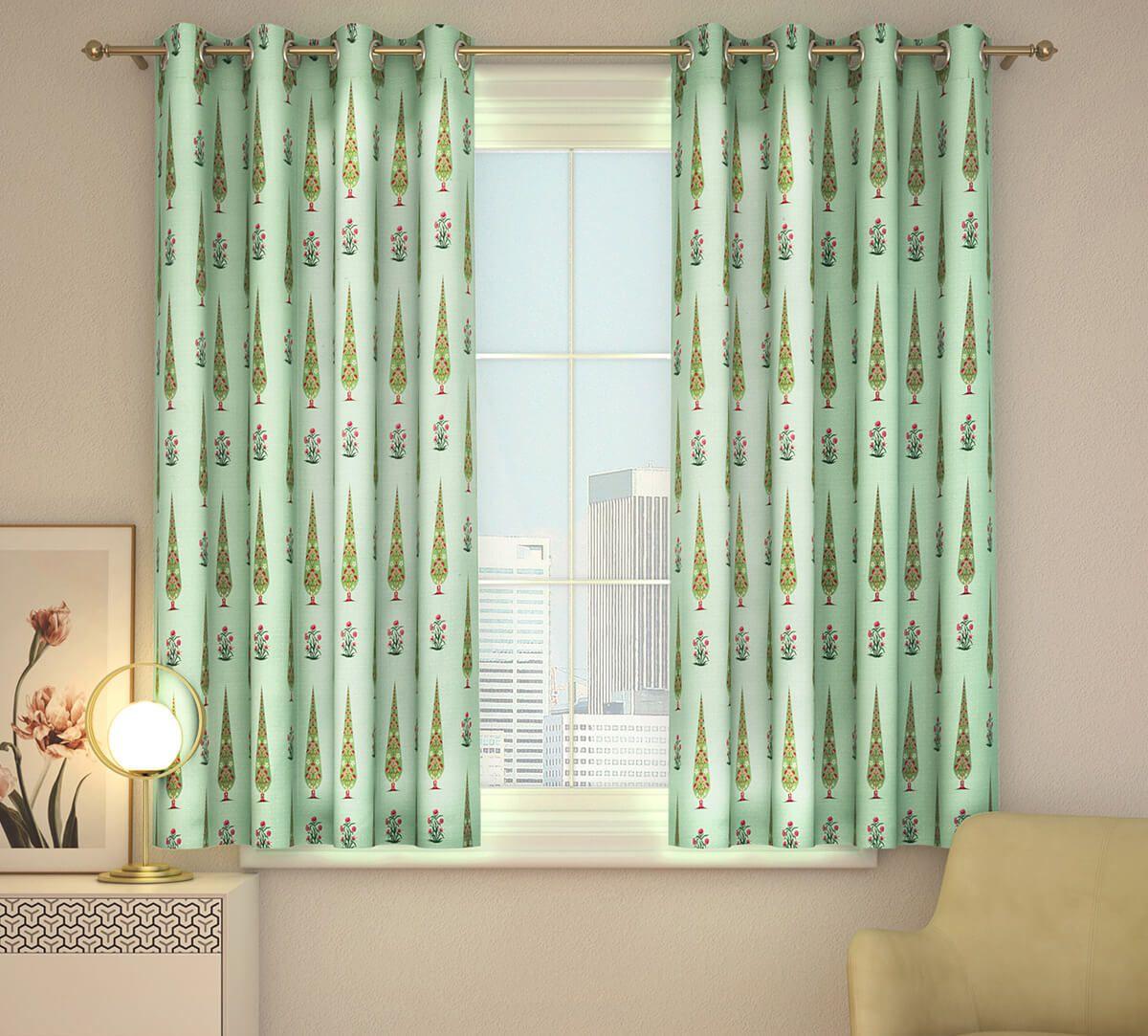 India Circus Poppy Conifer Window Curtain