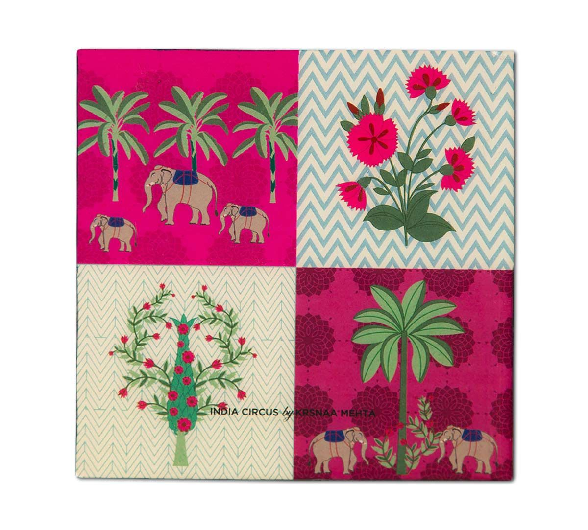 India Circus Quartet Checkers Table Coaster