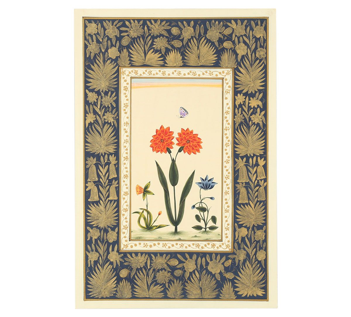 India Circus Red Dahila Butterfly Handmade Poster