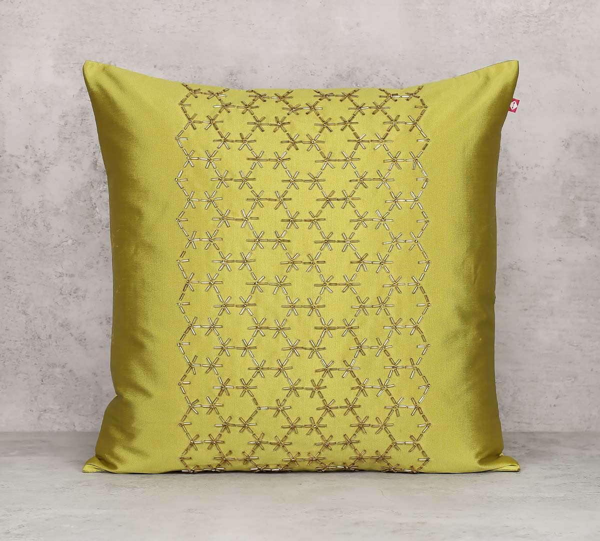 India Circus Rice Bead Olive Green Cushion Cover