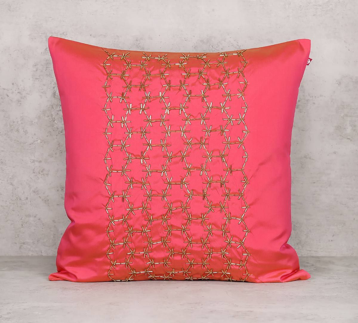 India Circus Rice Bead Pink Cushion Cover