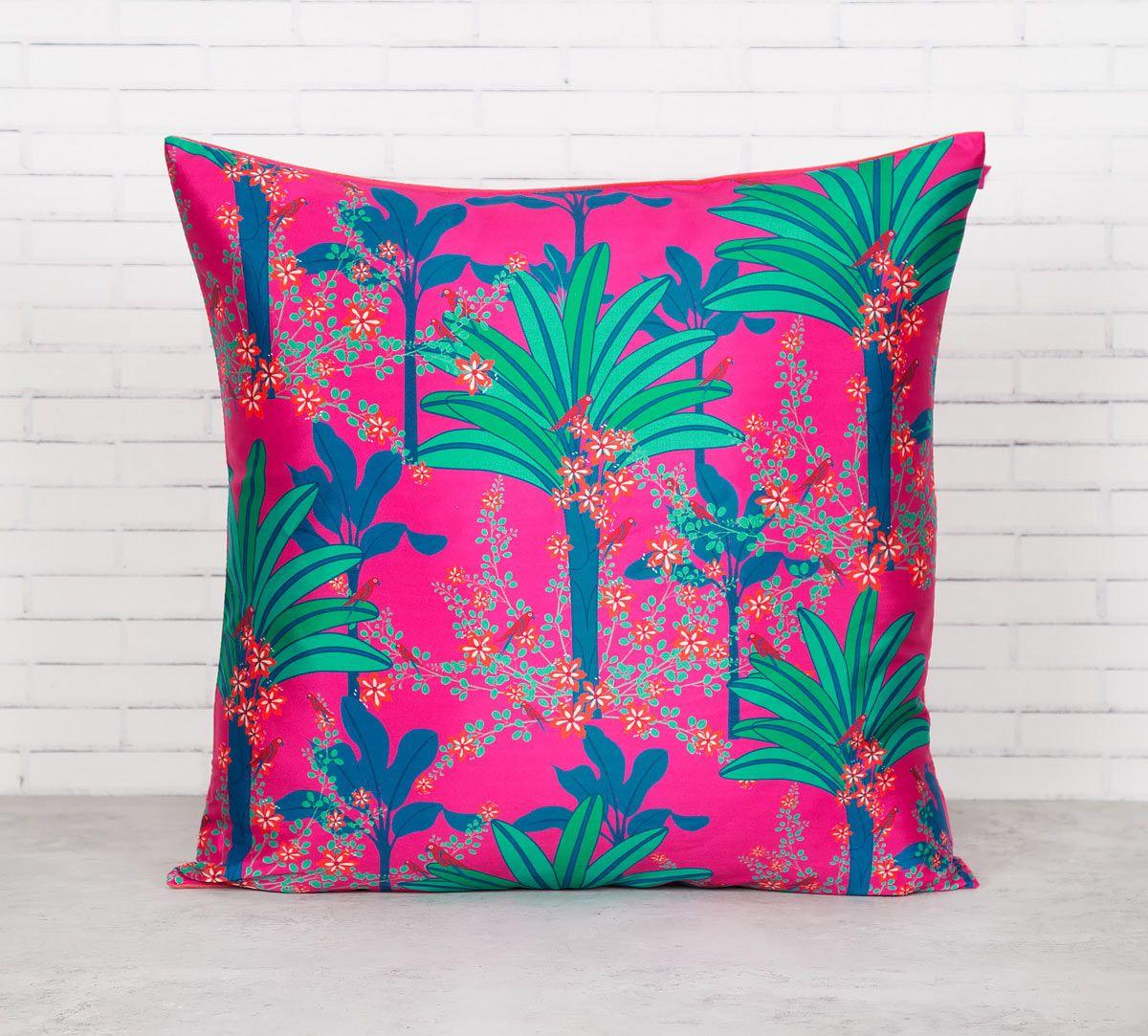 India Circus Royal Palms Blended Taf Silk Cushion Cover