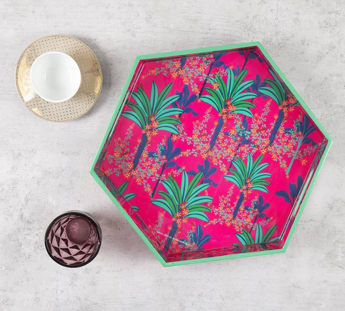 India Circus Royal Palms Hexagon Serving Tray