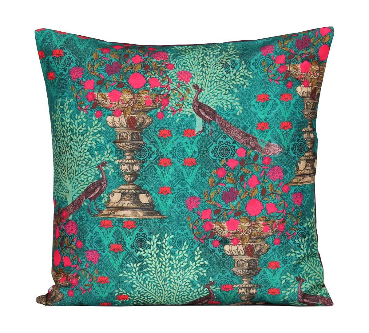 India Circus Sea Green Floral Pillar Crest Canvas Cushion Cover