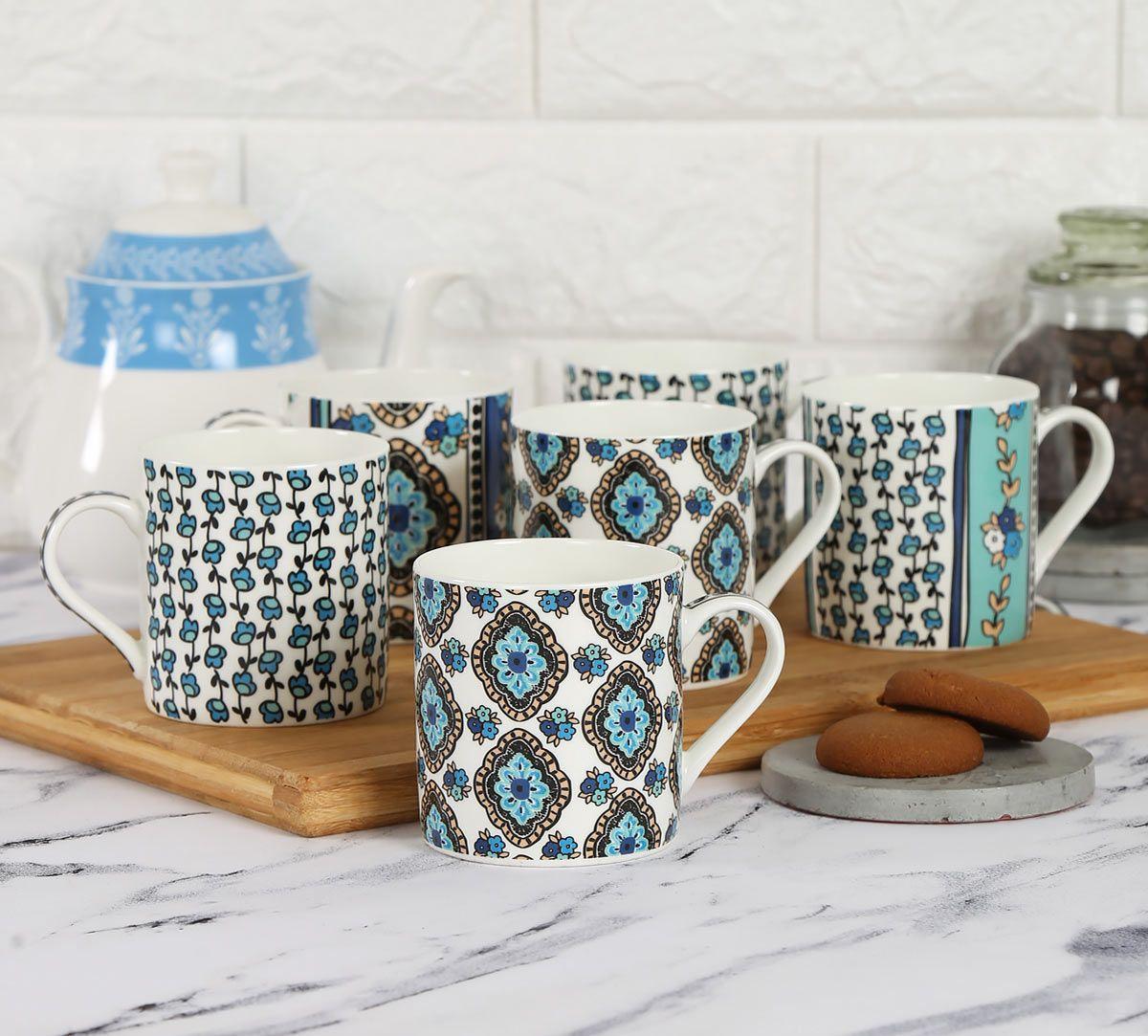India Circus Sketch Pattern Coffee Mug Set of 6