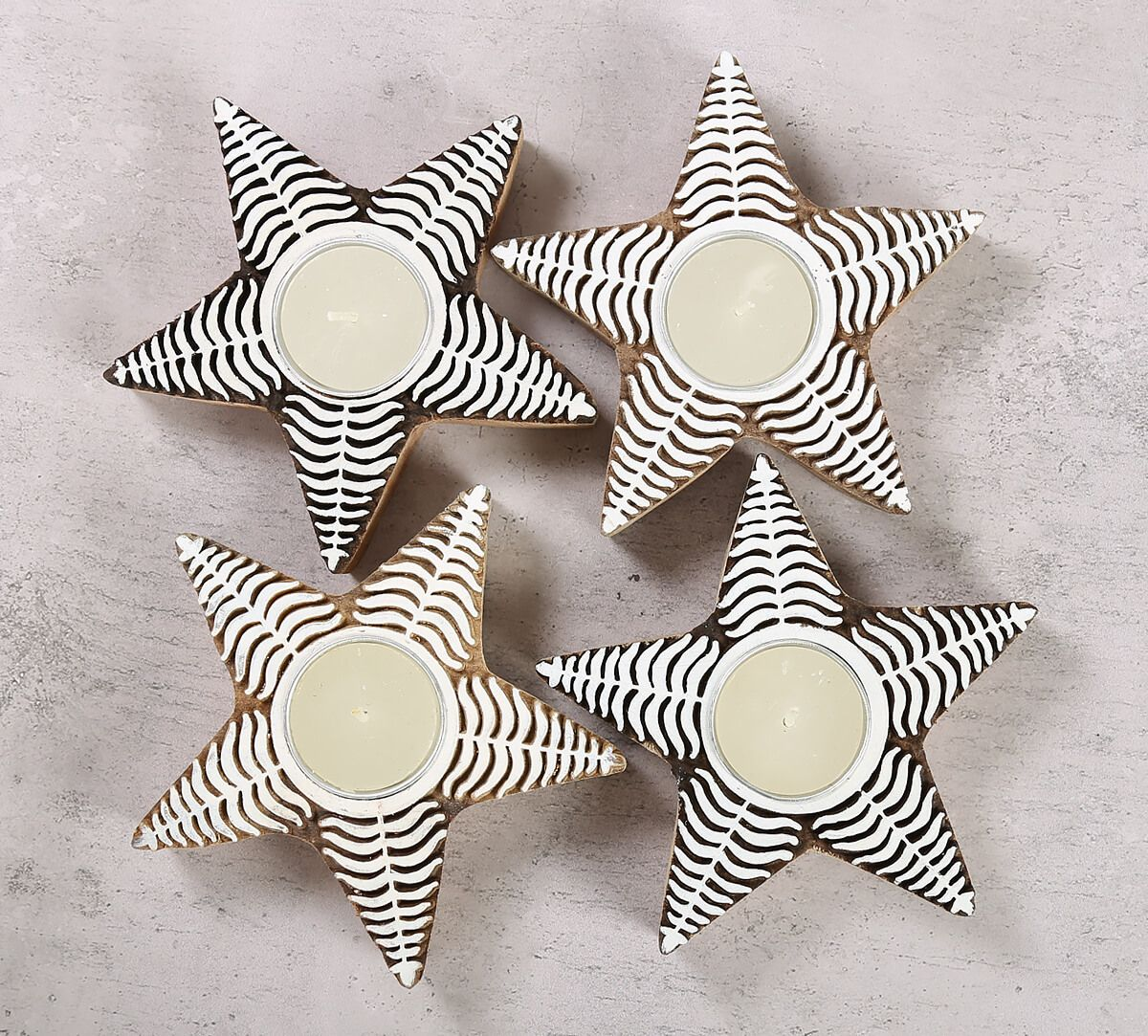 India Circus Star Shaped Wooden Engraved Tea Light Holder Set of 4