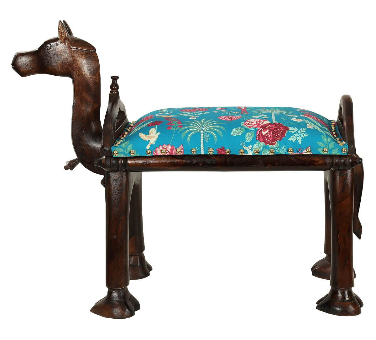 India Circus Teal Floral Galore Camel Pouffe